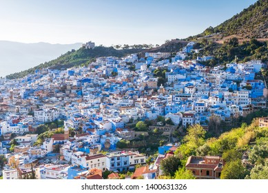 Aerial view of Chefchaouen, the Blue city of Morocco