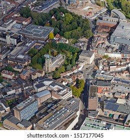 aerial view of Chelmsford Cathedral & Shire Hall, Essex, UK