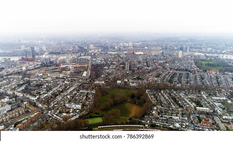 Aerial View of Chelsea, Fulham and Parsons Green in London City Residential Urban Area England UK