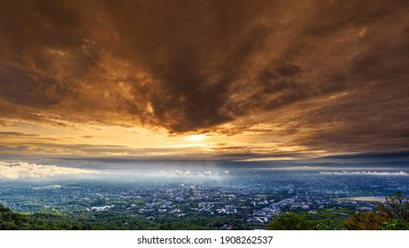 The Aerial View of Chiang Mai City in cloudy day at sunrise, Thailand
