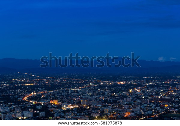 aerial view of chiangmai thailand at twilight night