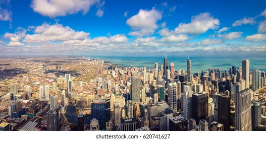 Aerial view of Chicago business district