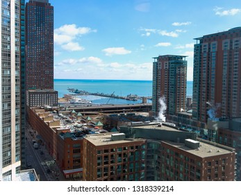 aerial view of Chicago city and Lake Michigan in winter