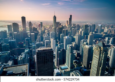 Aerial view of Chicago city skyline, USA