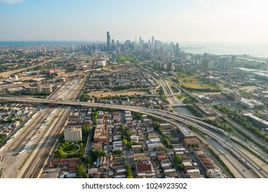 Aerial view of Chicago, Illinois, from the south at morning.