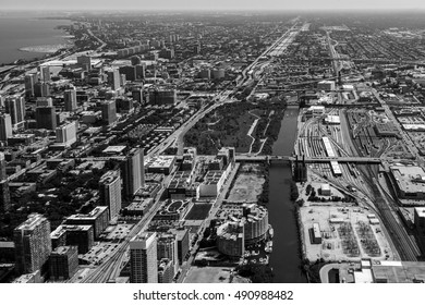 Aerial view of Chicago looking south with river City in view along the Chicago River