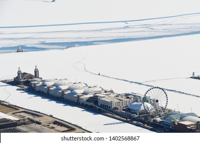 aerial view of Chicago Navy Pier and Lake Michigan in winter