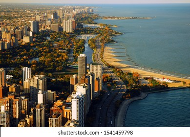 An aerial view of the Chicago skyline and lakeshore in autumn
