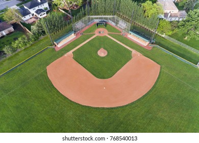 Aerial view of a Chicago suburban high school baseball field.