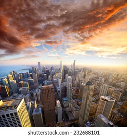 Aerial view of Chicago at sunset, USA