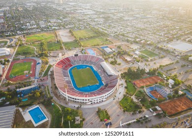 Aerial view of the Chilean national stadium in Santiago de Chile