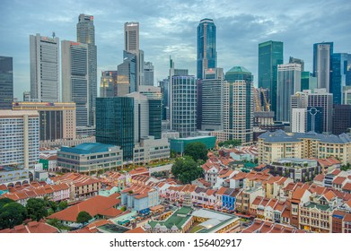 Aerial view of Chinatown with city skyline, Singapore, Asia