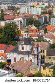 Aerial view of the Chram svateho Vaclava church in Litomerice, Czech Republic - Shutterstock ID 1840531714