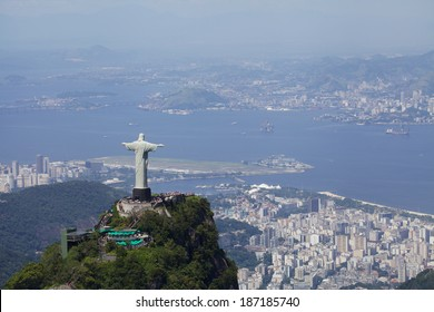 Aerial view of Christ Redeemer and harbor