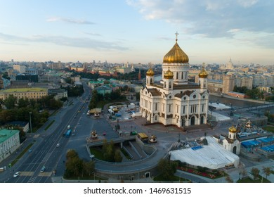 aerial view of the Christ the Savior Cathedral in Moscow