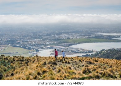 Aerial view of Christchurch cityscape from the gondola station on the Port Hills - New Zealand