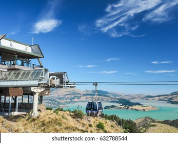 Aerial view of the Christchurch Gondola and the Lyttelton port from Port Hills in New Zealand.