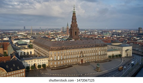 Aerial view of Christiansborg Palace in morning sun located in Copenhagen, Denmark