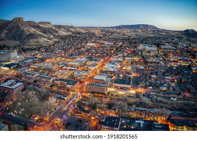 Aerial View of Christmas Lights at Dusk in Golden, Colorado