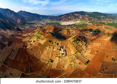 Aerial view of  Chu Dang Ya mountain near Pleiku city, Gia Lai province, Vietnam. Chu Dang Ya mountain is a volcano that has stopped working