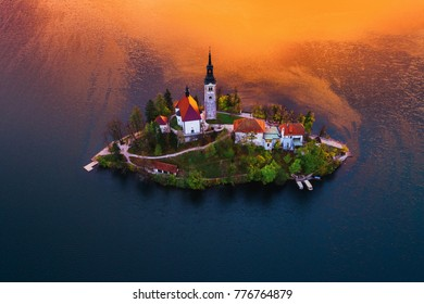 Aerial view of church of Assumption in Lake Bled, Slovenia. Hdr landscape.
