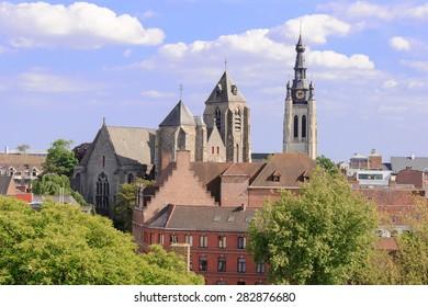 aerial view of  church the city of Kortrijk in Flanders, Belgium