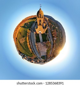 Aerial view of the church of El Santo, in Bembibre, Leon, Spain. Tiny Planet.