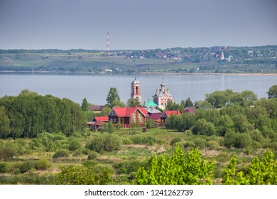 Aerial view of Church of the Forty Sebastian Martyrs on shore of Lake Pleshcheyevo, Pereslavl-Zalessky, Russia