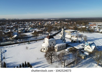 Aerial view of the Church of the Intercession of the blessed Virgin Mary in the village Erino, Podolsk region, Russia