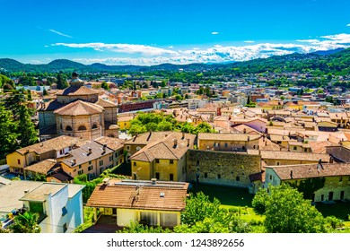 Aerial view of the church of Saint Cosma and Damiano at Mendrisio in Switzerland