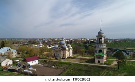 Aerial view of the Church of the Savior of the miraculous image and Borisoglebsky Cathedral, Staritsa, Tver region, Russia