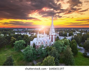 Aerial view of the church at sunset in Joensuu, Finland.