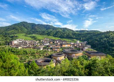 aerial view of Chuxi Tulou cluster in fujian, china