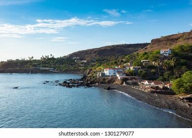Aerial view Cidade Velha city beach  in Santiago - Cape Verde - Cabo Verde