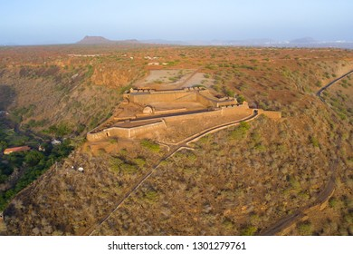 Aerial view of Cidade Velha old fort  in Santiago - Cape Verde - Cabo Verde