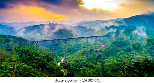 Aerial View of Cikubang Bridge at Sunrise, the Longest Active Train Bridge in Indonesia, Bandung, West Java, Asia