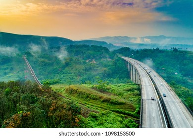 Aerial View of Cikubang Railway Bridge and Toll Bridge, Cipularang, Jakarta to Bandung, Indonesia