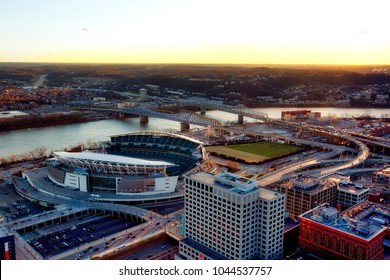Aerial view of Cincinnati, Ohio looking across the river into Covington, Kentucky