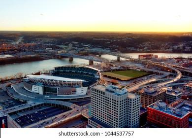 Aerial view of Cincinnati, Ohio looking across the river into Covington, Kentucky