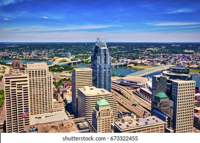 Aerial view of Cincinnati, Ohio looking toward Kentucky
