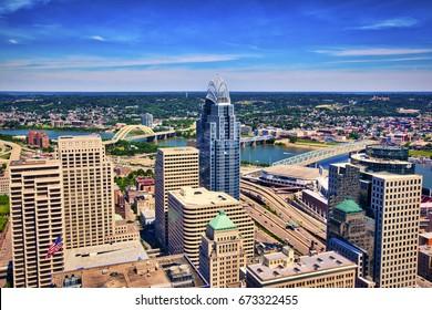 Aerial view of Cincinnati, Ohio looking toward Kentucky