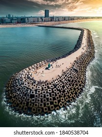 Aerial view of Cinder blocks on the beach of Ostend, Belgium