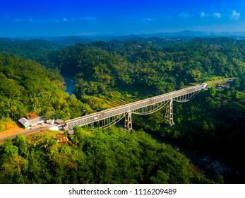 Aerial View of Cirahong Bridge, A Double Deck Structure of Metal Railway Bridge and Car Bridge Underneath Made by Dutch Colonial, Manonjaya Tasikmalaya, West Java Indonesia, Asia