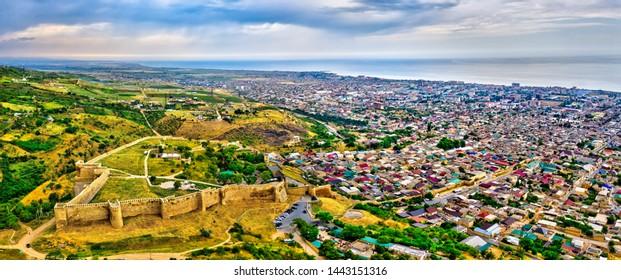 Aerial view of the citadel of Naryn-Kala in Derbent. UNESCO world heritage in Dagestan, Russia