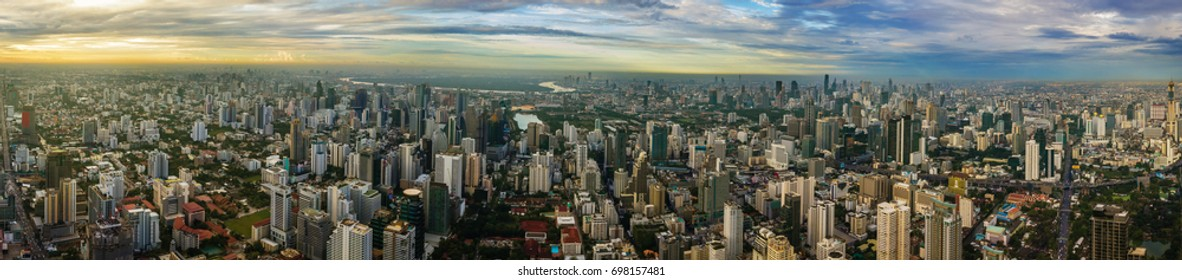 An aerial view of city.