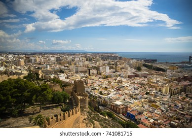 Aerial view of Almería city in Andalusia, southern Spain