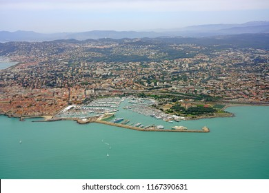 Aerial view of the city of Antibes and the Mediterranean Sea coast, French Riviera, France