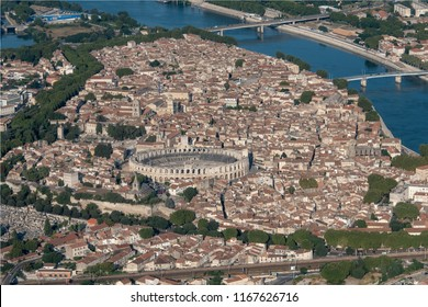 aerial view of the city of Arles with the arena in the south of France