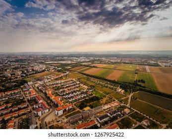 Luftbild der Stadt Augsburg, Deutschland, Bayern, Bezirk Göggingen, Univirtel