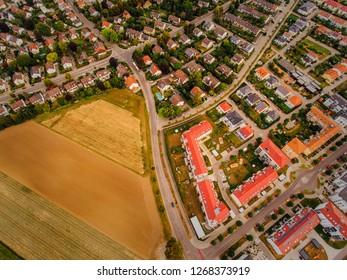 Aerial view of the city of Augsburg, Germany, Bavaria, district göggingen, Univirtel